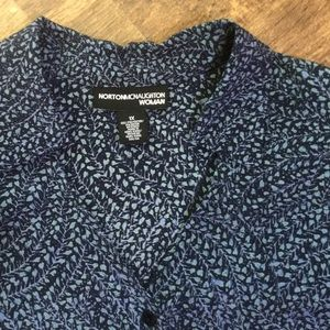 EUC 2-pc. top/skirt 1X navy/light blue